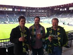 Rob Levy (right) enjoying a Portland Timbers match in Southwest Portland